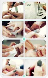tutorial nail art con carta di giornale