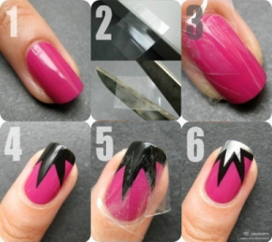 tutorial nail art con scotch