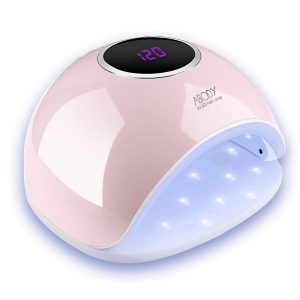 lampada mista UV e LED accesa di colore rosa